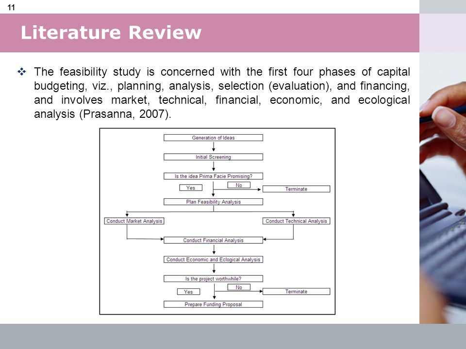 LOGO 11 Literature Review The feasibility study is concerned with the first four phases of capital budgeting, viz., planning, analysis, selection (eva