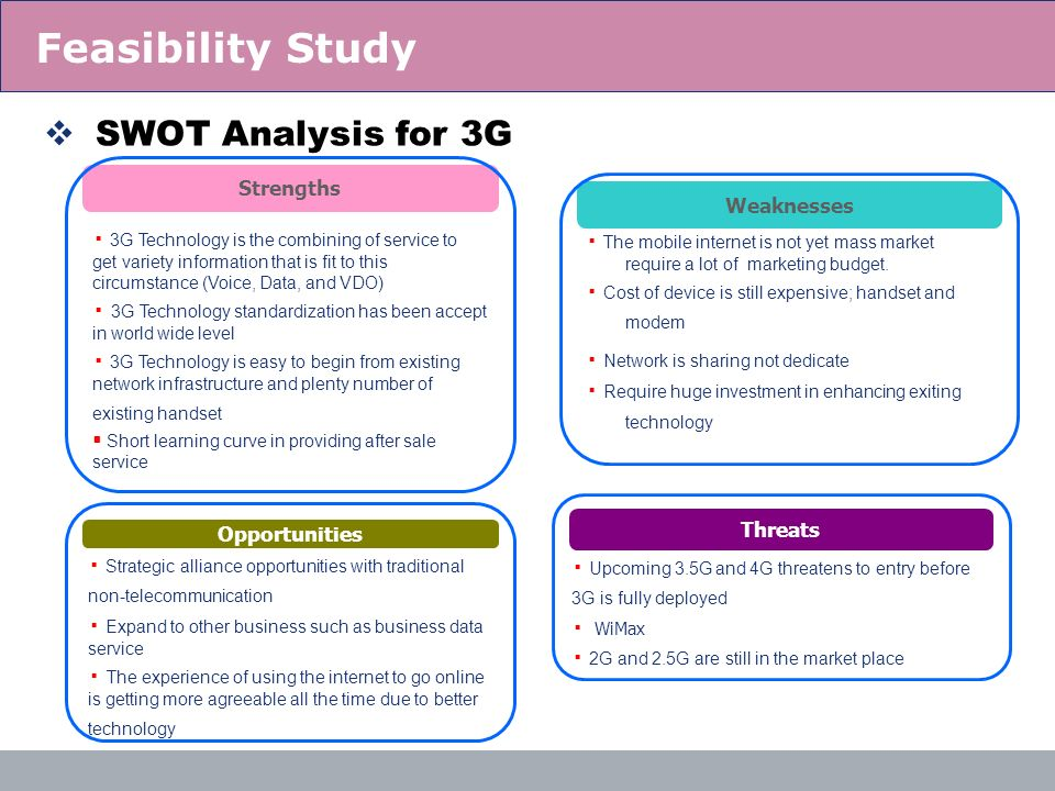 18 SWOT Analysis for 3G Weaknesses The mobile internet is not yet mass market require a lot of marketing budget. Cost of device is still expensive; ha