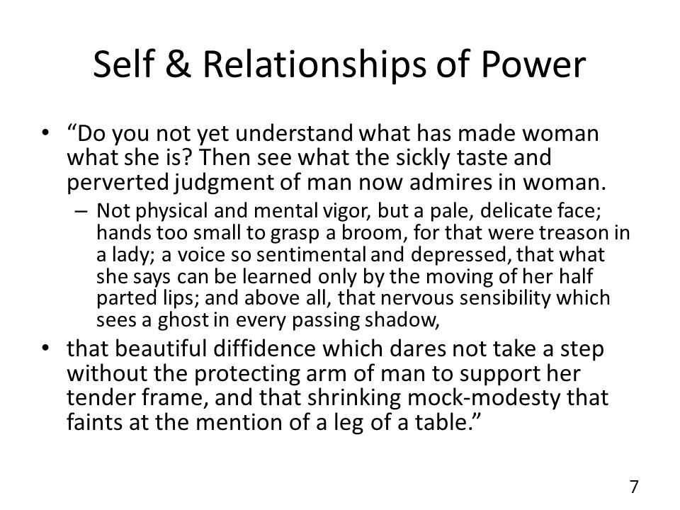 Self & Relationships of Power Do you not yet understand what has made woman what she is.