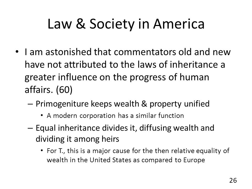 Law & Society in America I am astonished that commentators old and new have not attributed to the laws of inheritance a greater influence on the progr