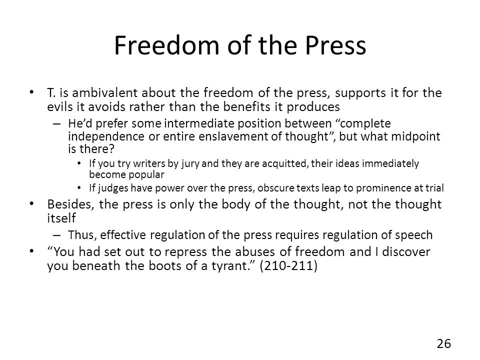 Freedom of the Press T.