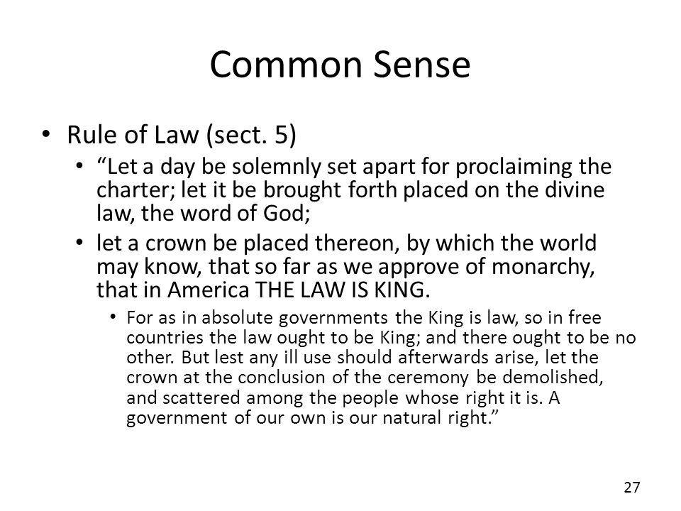 Common Sense Rule of Law (sect.