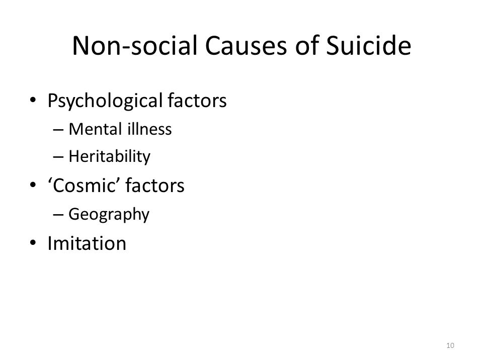 Non-social Causes of Suicide Psychological factors – Mental illness – Heritability Cosmic factors – Geography Imitation 10