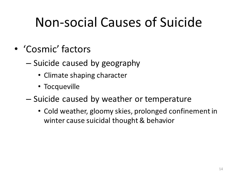 Non-social Causes of Suicide Cosmic factors – Suicide caused by geography Climate shaping character Tocqueville – Suicide caused by weather or tempera
