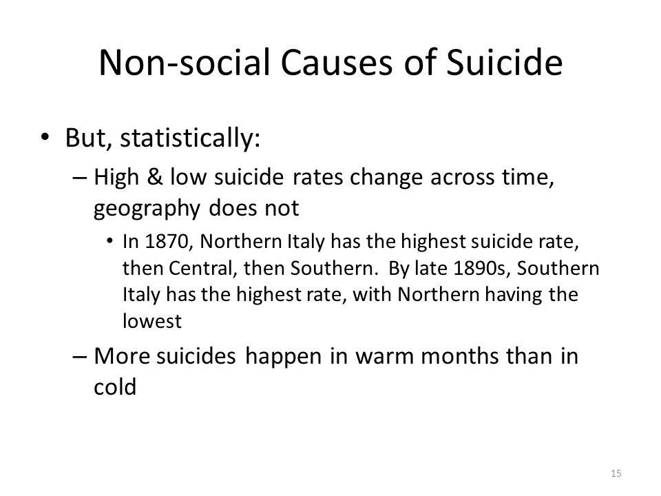 Non-social Causes of Suicide But, statistically: – High & low suicide rates change across time, geography does not In 1870, Northern Italy has the hig