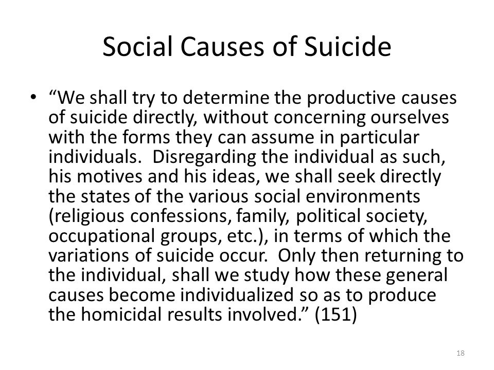 Social Causes of Suicide We shall try to determine the productive causes of suicide directly, without concerning ourselves with the forms they can ass