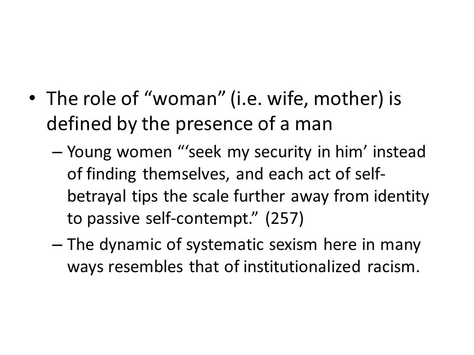 The role of woman (i.e.