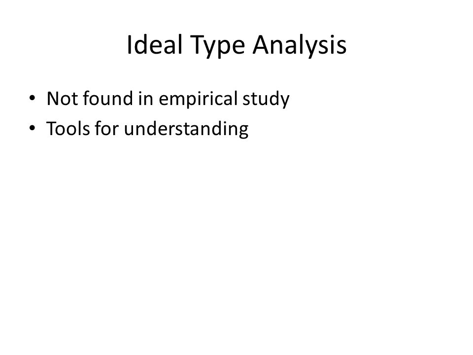 Ideal Type Analysis Not found in empirical study Tools for understanding