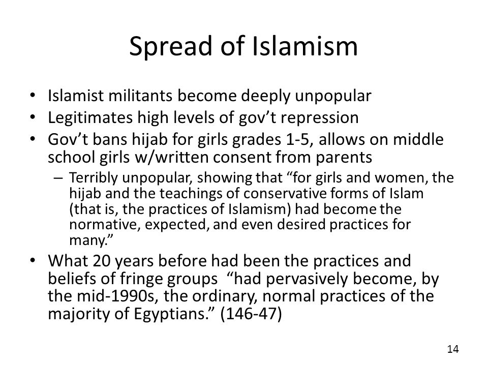 Spread of Islamism Islamist militants become deeply unpopular Legitimates high levels of govt repression Govt bans hijab for girls grades 1-5, allows