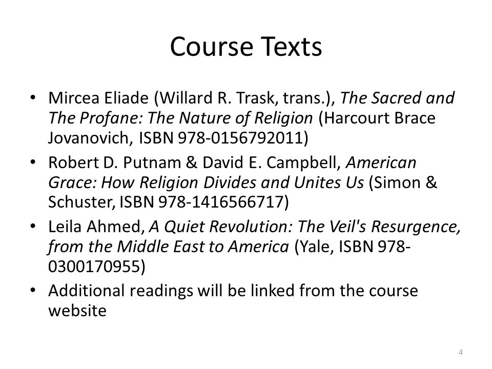 Course Texts Mircea Eliade (Willard R.