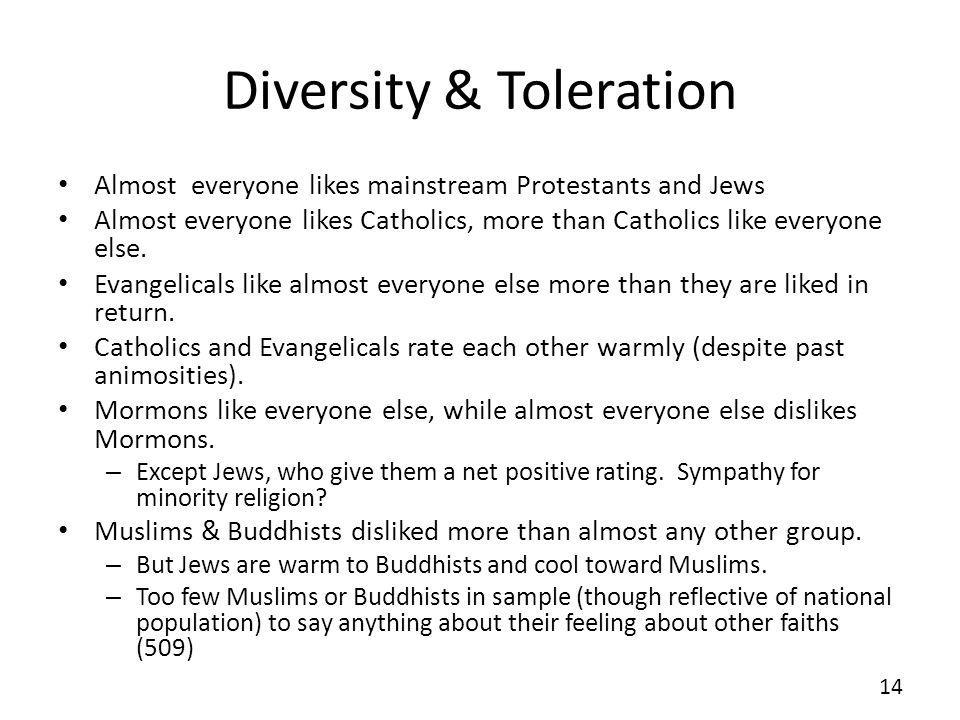 Diversity & Toleration Almost everyone likes mainstream Protestants and Jews Almost everyone likes Catholics, more than Catholics like everyone else.