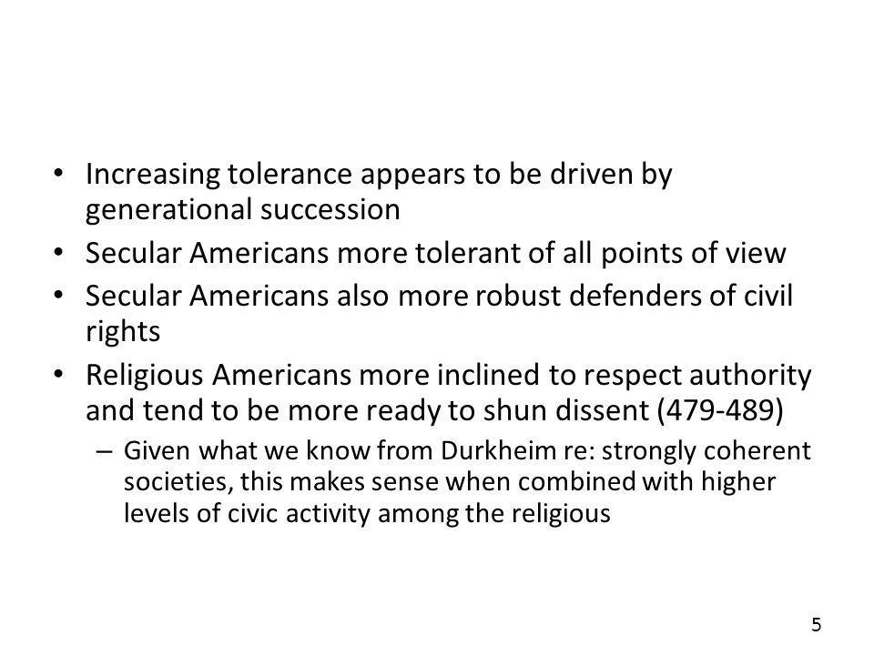 Increasing tolerance appears to be driven by generational succession Secular Americans more tolerant of all points of view Secular Americans also more robust defenders of civil rights Religious Americans more inclined to respect authority and tend to be more ready to shun dissent (479-489) – Given what we know from Durkheim re: strongly coherent societies, this makes sense when combined with higher levels of civic activity among the religious 5
