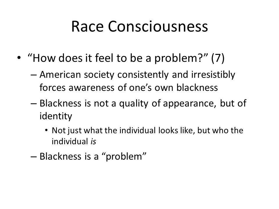 Race Consciousness How does it feel to be a problem.