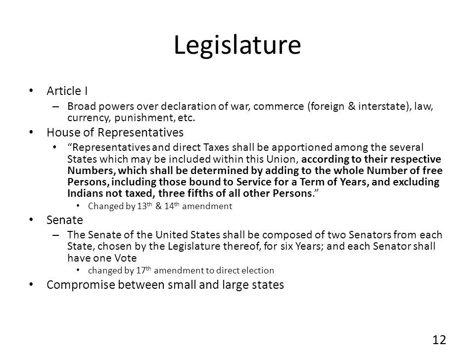 Legislature Article I – Broad powers over declaration of war, commerce (foreign & interstate), law, currency, punishment, etc. House of Representative