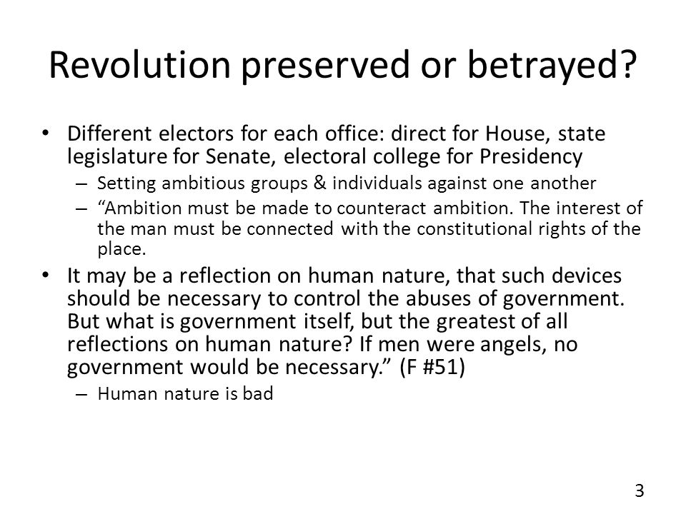 Revolution preserved or betrayed.