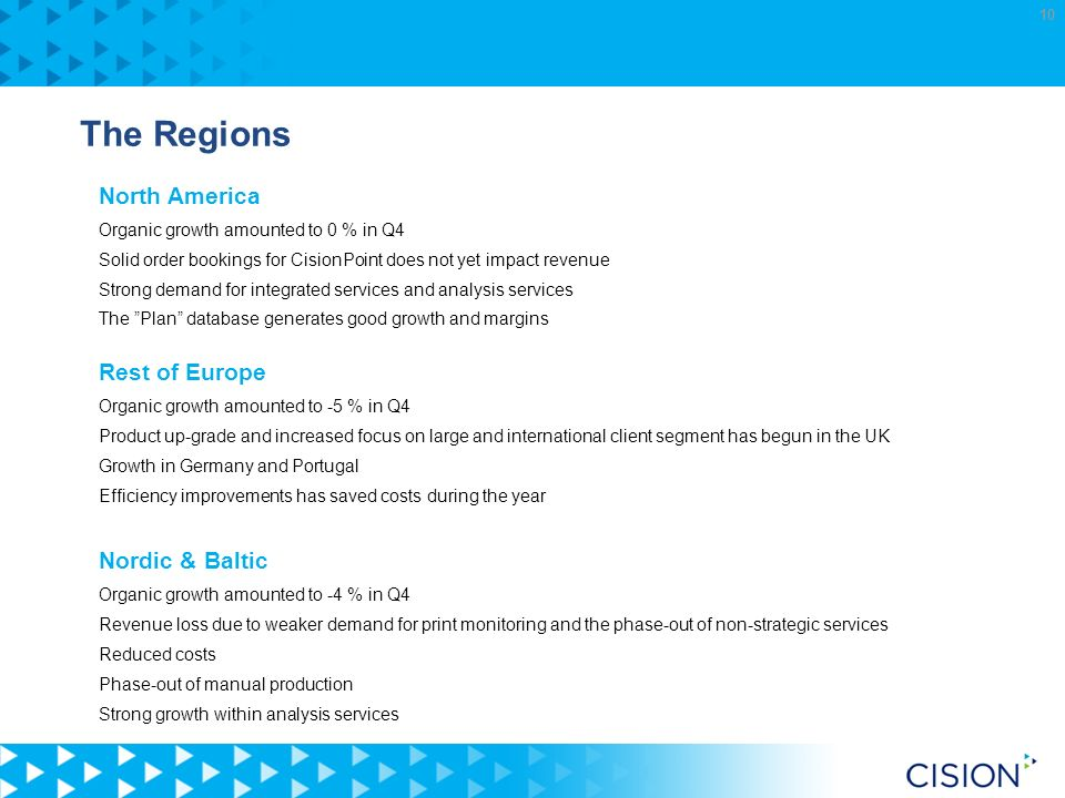 10 The Regions North America Organic growth amounted to 0 % in Q4 Solid order bookings for CisionPoint does not yet impact revenue Strong demand for integrated services and analysis services The Plan database generates good growth and margins Rest of Europe Organic growth amounted to -5 % in Q4 Product up-grade and increased focus on large and international client segment has begun in the UK Growth in Germany and Portugal Efficiency improvements has saved costs during the year Nordic & Baltic Organic growth amounted to -4 % in Q4 Revenue loss due to weaker demand for print monitoring and the phase-out of non-strategic services Reduced costs Phase-out of manual production Strong growth within analysis services