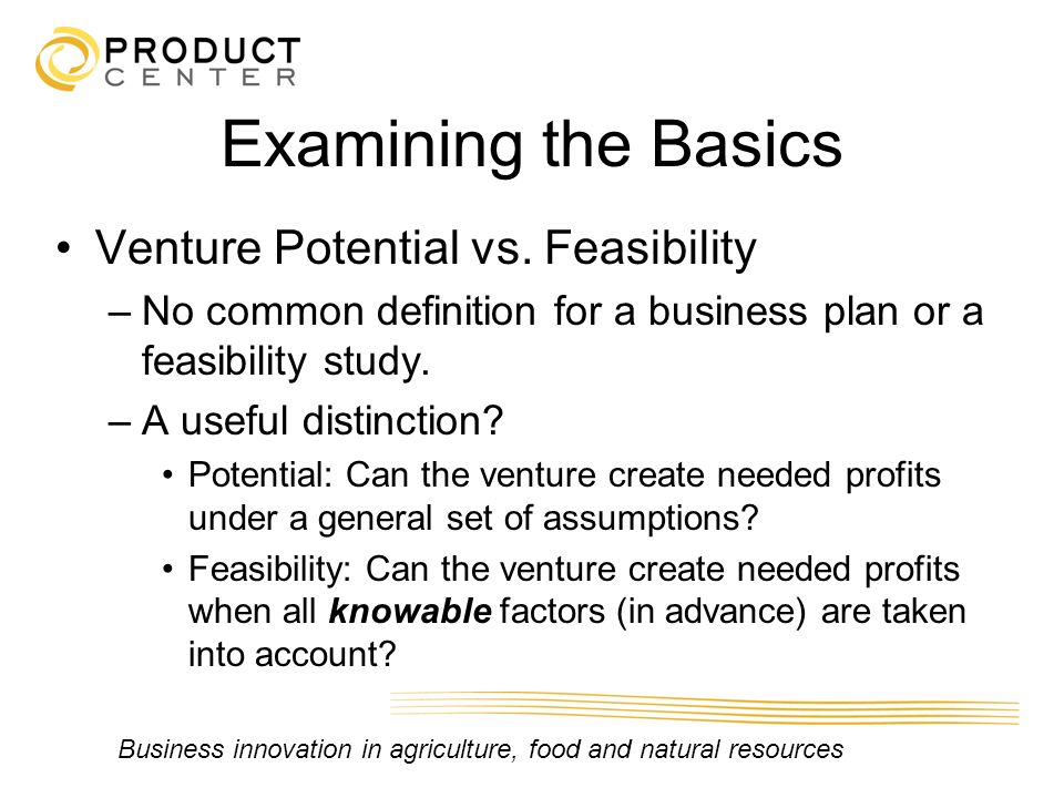 Business innovation in agriculture, food and natural resources Examining the Basics Venture Potential vs. Feasibility –No common definition for a busi