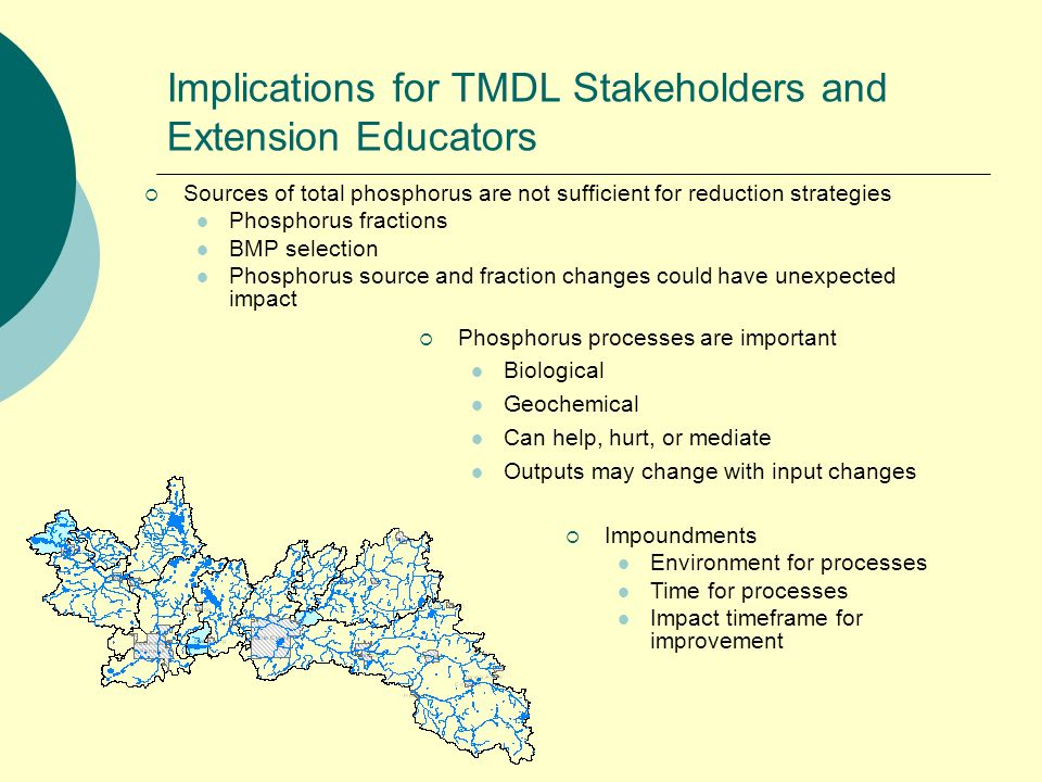 Implications for TMDL Stakeholders and Extension Educators Phosphorus processes are important Biological Geochemical Can help, hurt, or mediate Outputs may change with input changes Sources of total phosphorus are not sufficient for reduction strategies Phosphorus fractions BMP selection Phosphorus source and fraction changes could have unexpected impact Impoundments Environment for processes Time for processes Impact timeframe for improvement