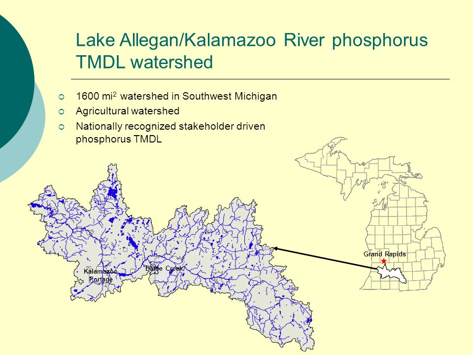 Lake Allegan/Kalamazoo River phosphorus TMDL watershed 1600 mi 2 watershed in Southwest Michigan Agricultural watershed Nationally recognized stakeholder driven phosphorus TMDL Battle Creek Kalamazoo Portage Grand Rapids