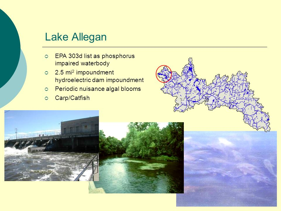 Lake Allegan EPA 303d list as phosphorus impaired waterbody 2.5 mi 2 impoundment hydroelectric dam impoundment Periodic nuisance algal blooms Carp/Catfish
