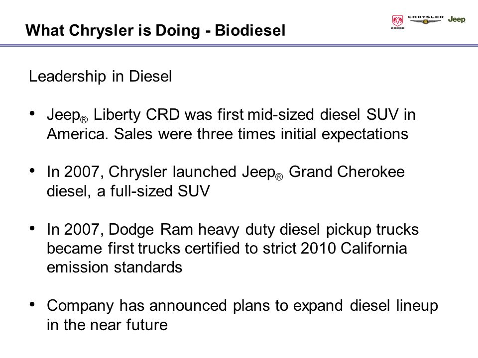 Leadership in Diesel Jeep ® Liberty CRD was first mid-sized diesel SUV in America.
