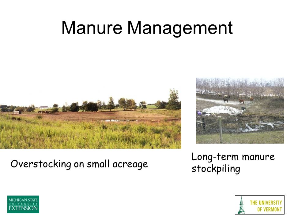 Overstocking on small acreage Long-term manure stockpiling Manure Management