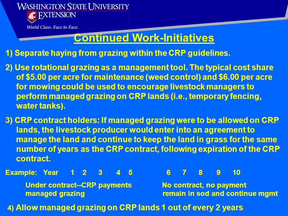 Continued Work-Initiatives 1) Separate haying from grazing within the CRP guidelines. 2) Use rotational grazing as a management tool. The typical cost