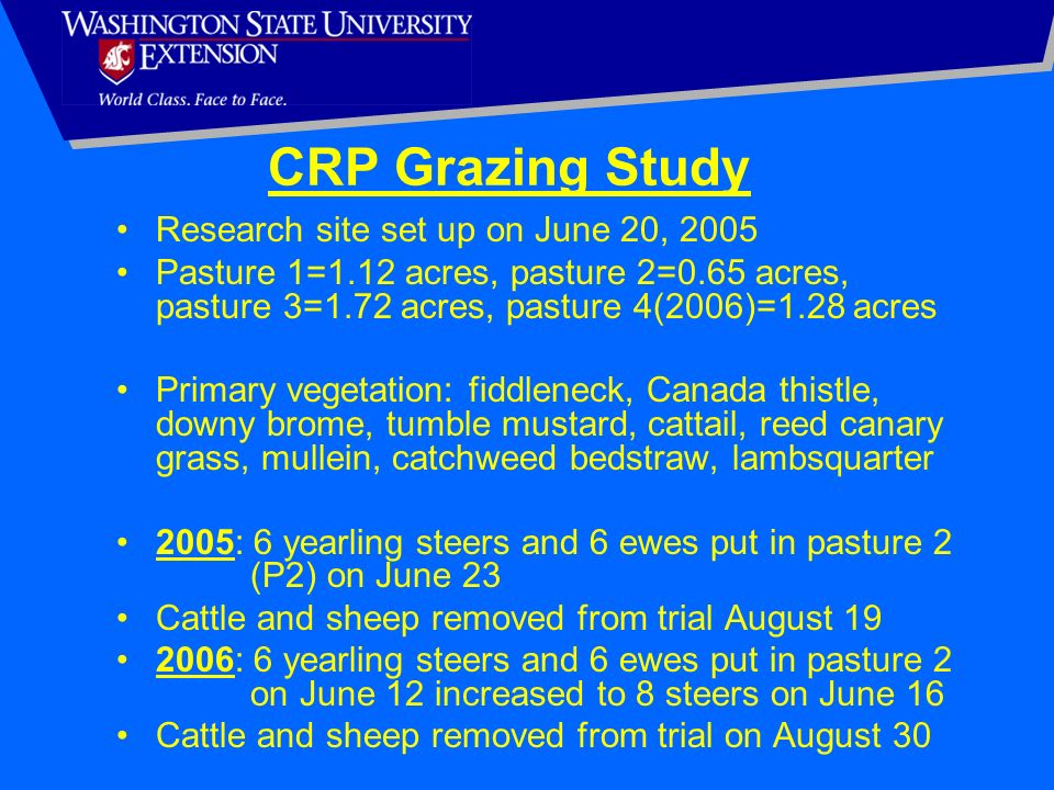 CRP Grazing Study Research site set up on June 20, 2005 Pasture 1=1.12 acres, pasture 2=0.65 acres, pasture 3=1.72 acres, pasture 4(2006)=1.28 acres P