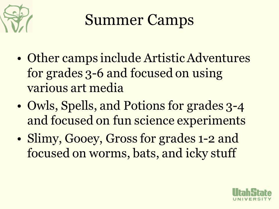 Summer Camps Other camps include Artistic Adventures for grades 3-6 and focused on using various art media Owls, Spells, and Potions for grades 3-4 and focused on fun science experiments Slimy, Gooey, Gross for grades 1-2 and focused on worms, bats, and icky stuff