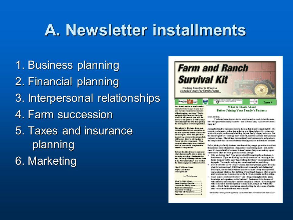 A. Newsletter installments 1. Business planning 2.
