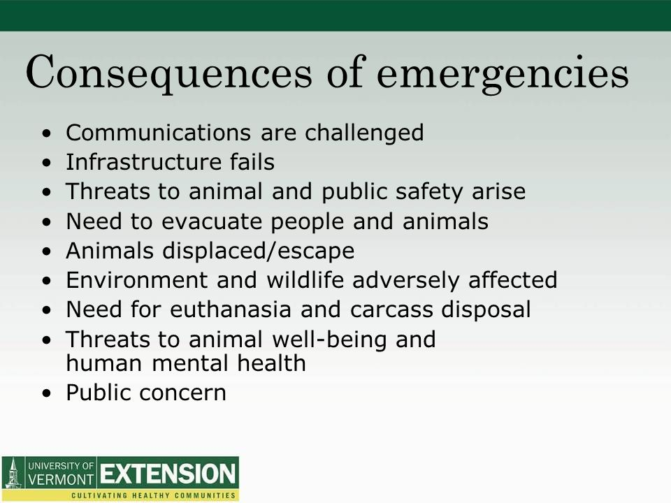 Consequences of emergencies Communications are challenged Infrastructure fails Threats to animal and public safety arise Need to evacuate people and animals Animals displaced/escape Environment and wildlife adversely affected Need for euthanasia and carcass disposal Threats to animal well-being and human mental health Public concern