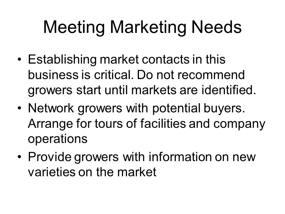 Meeting Marketing Needs Establishing market contacts in this business is critical.