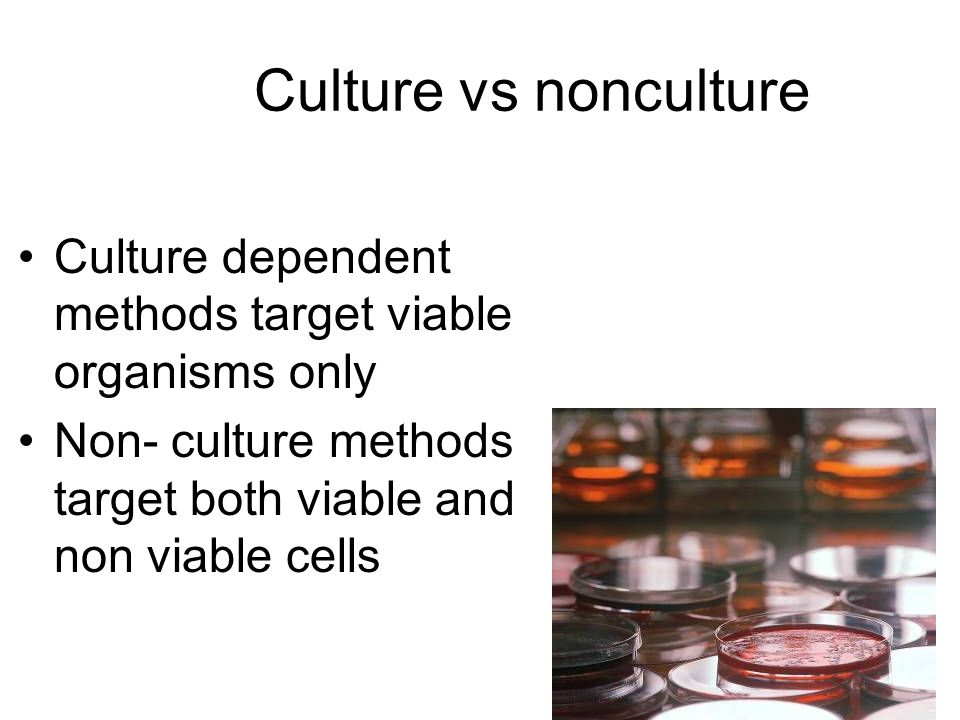 Culture vs nonculture Culture dependent methods target viable organisms only Non- culture methods target both viable and non viable cells