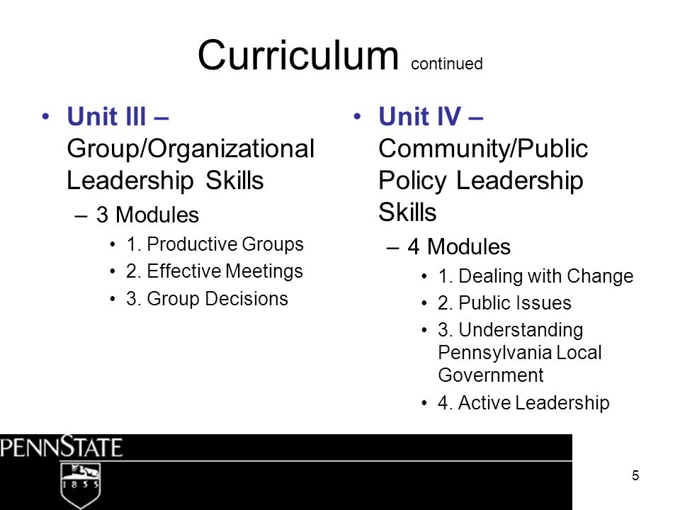 5 Curriculum continued Unit lll – Group/Organizational Leadership Skills –3 Modules 1. Productive Groups 2. Effective Meetings 3. Group Decisions Unit