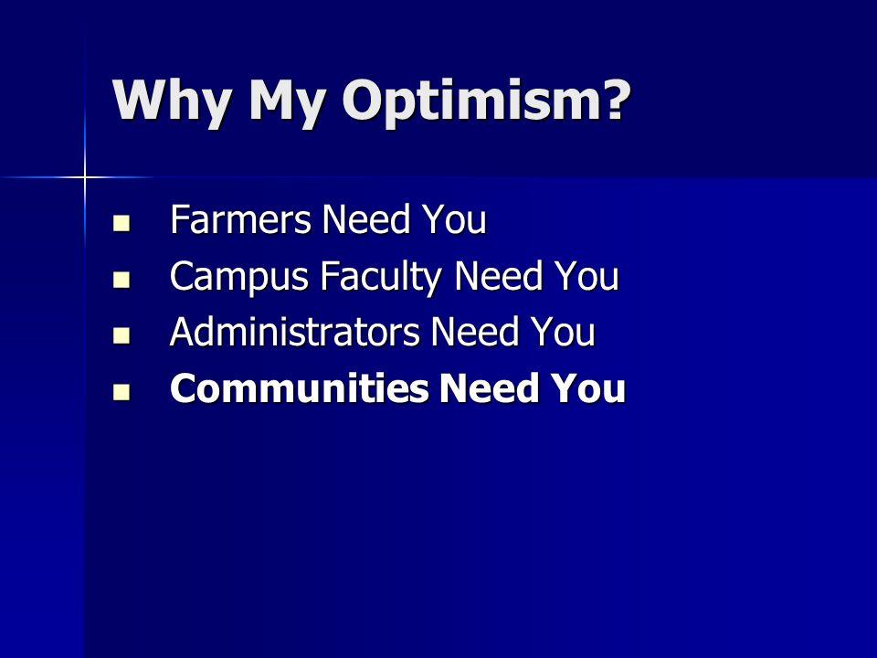 Why My Optimism? Farmers Need You Farmers Need You Campus Faculty Need You Campus Faculty Need You Administrators Need You Administrators Need You Com
