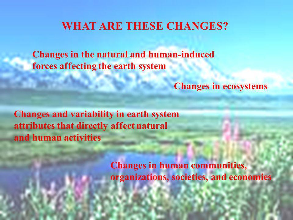 Changes in the natural and human-induced forces affecting the earth system Changes and variability in earth system attributes that directly affect nat