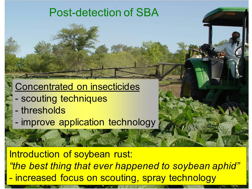 Post-detection of SBA Concentrated on insecticides - scouting techniques - thresholds - improve application technology Introduction of soybean rust: the best thing that ever happened to soybean aphid - increased focus on scouting, spray technology