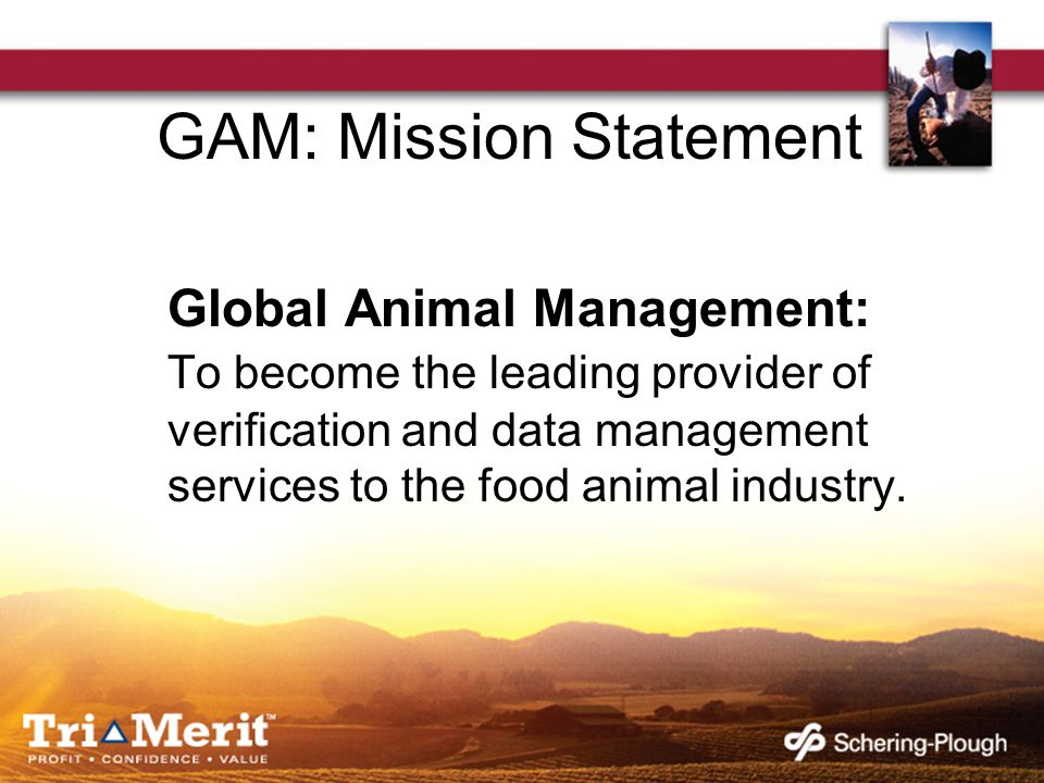 GAM: Mission Statement Global Animal Management: To become the leading provider of verification and data management services to the food animal indust