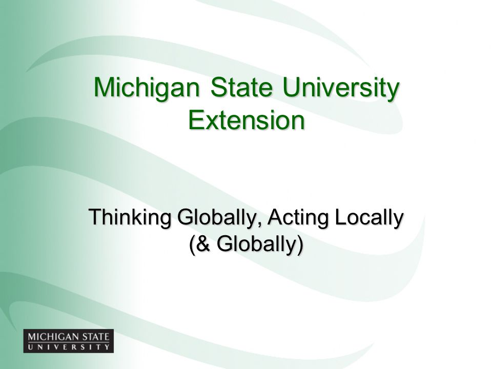 Michigan State University Extension Thinking Globally, Acting Locally (& Globally)
