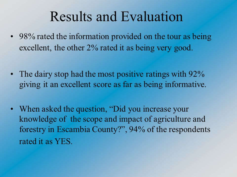 Results and Evaluation 98% rated the information provided on the tour as being excellent, the other 2% rated it as being very good.