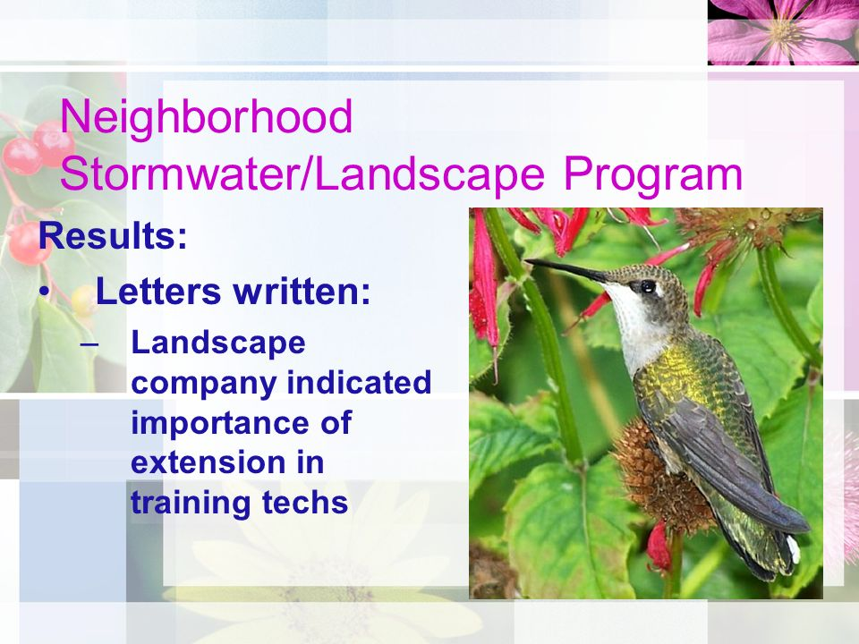 Neighborhood Stormwater/Landscape Program Results: Letters written: –Landscape company indicated importance of extension in training techs