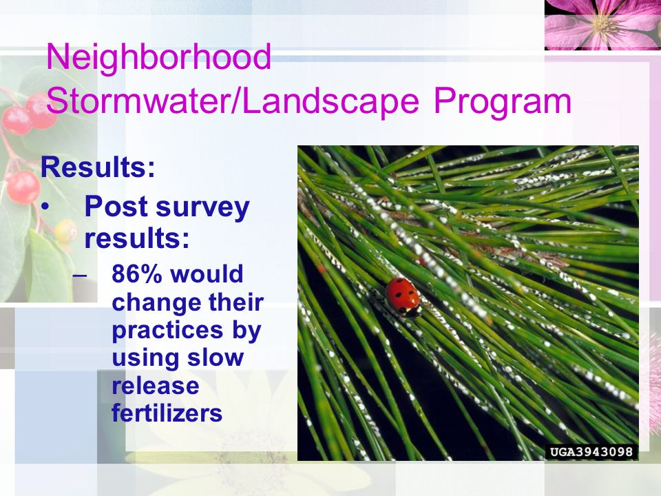 Neighborhood Stormwater/Landscape Program Results: Post survey results: –86% would change their practices by using slow release fertilizers