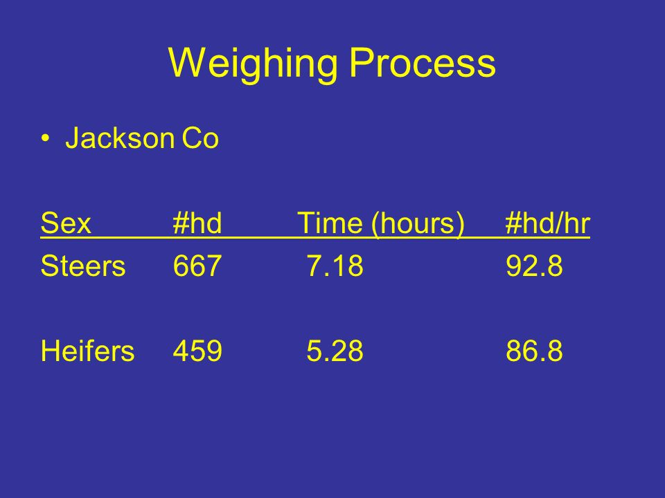 Weighing Process Jackson Co Sex#hd Time (hours)#hd/hr Steers6677.1892.8 Heifers4595.2886.8