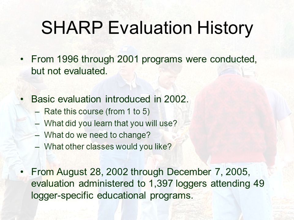 SHARP Evaluation History From 1996 through 2001 programs were conducted, but not evaluated. Basic evaluation introduced in 2002. –Rate this course (fr