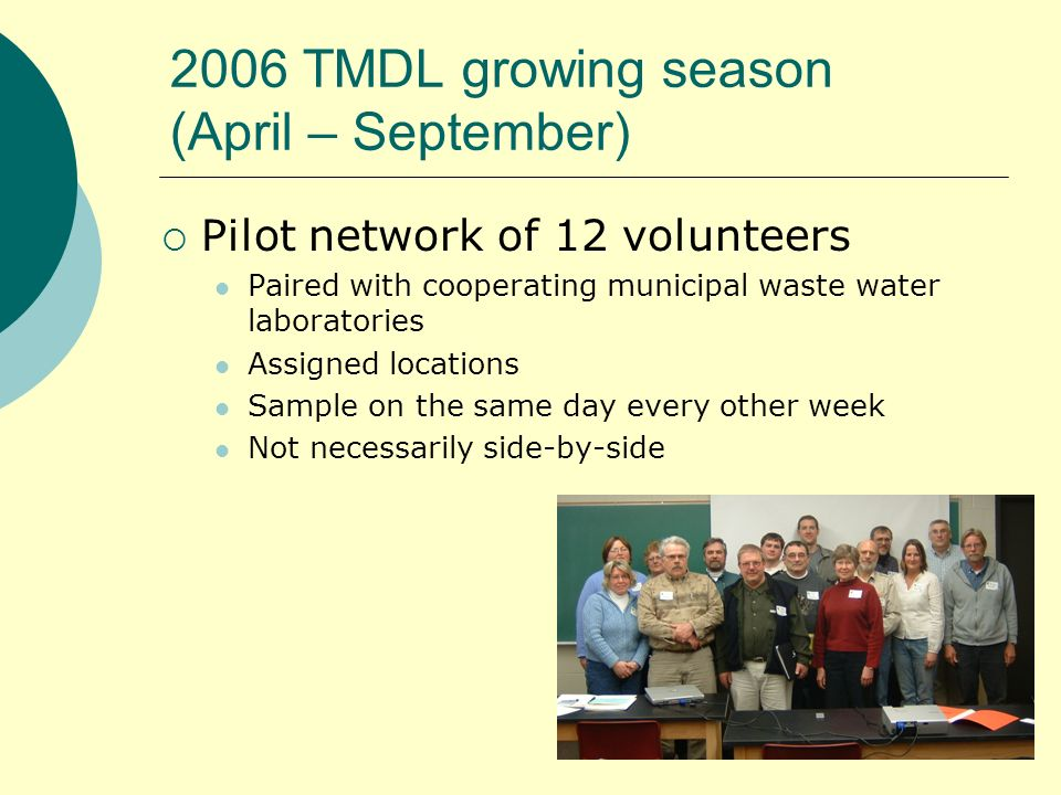 2006 TMDL growing season (April – September) Pilot network of 12 volunteers Paired with cooperating municipal waste water laboratories Assigned locations Sample on the same day every other week Not necessarily side-by-side