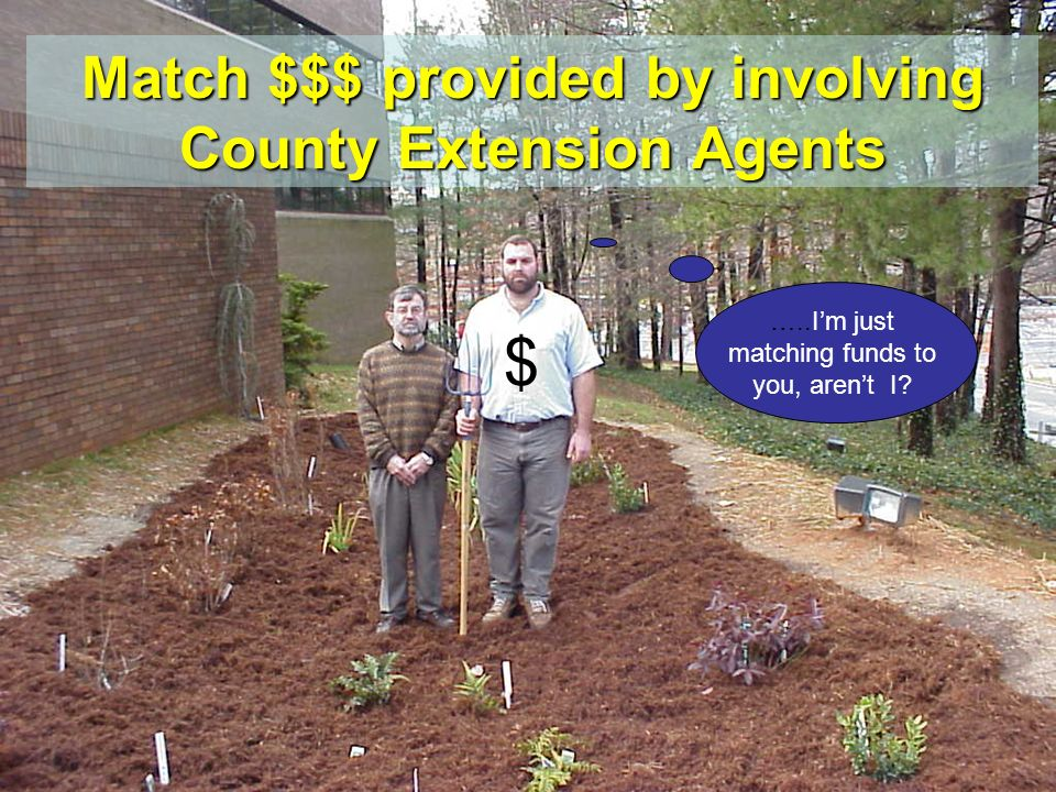 Match $$$ provided by involving County Extension Agents $ …..Im just matching funds to you, arent I