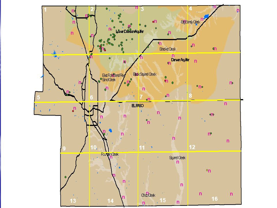 Alluvial aquifers are shown by dotted white polygons Bedrock aquifers are labeled either Lower Dawson or Denver Proposed sample sites are the magenta colored flags Flags with a colored circle next to them are sites where we can use Garys Network Flags not near a circle will need to be scouted out 1 2 3 11 4 10 9 5 8 7 6 12 16 15 1413