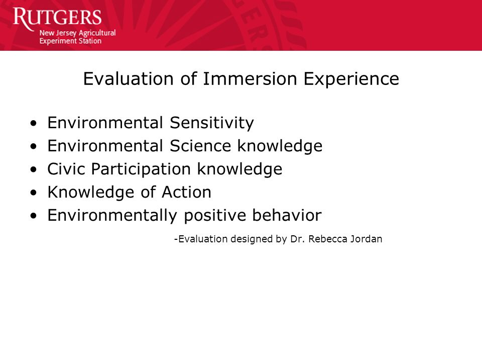 Evaluation of Immersion Experience Environmental Sensitivity Environmental Science knowledge Civic Participation knowledge Knowledge of Action Environ