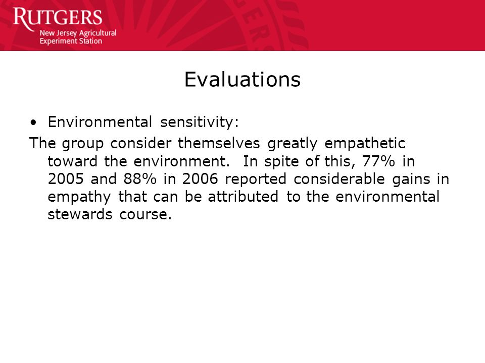 Evaluations Environmental sensitivity: The group consider themselves greatly empathetic toward the environment. In spite of this, 77% in 2005 and 88%