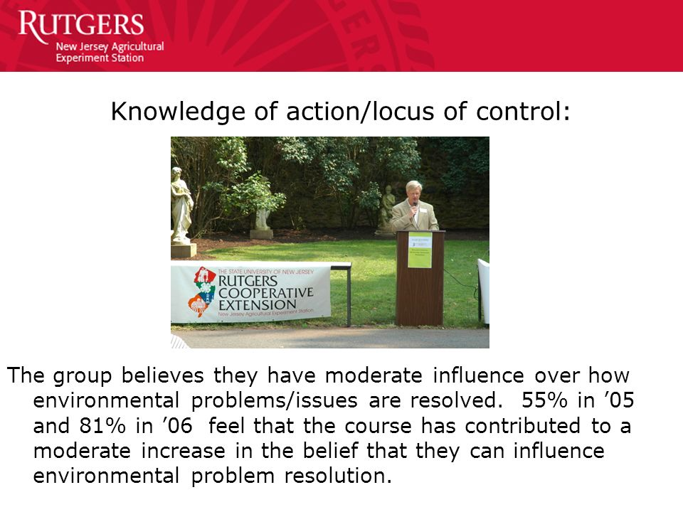 Knowledge of action/locus of control: The group believes they have moderate influence over how environmental problems/issues are resolved. 55% in 05 a